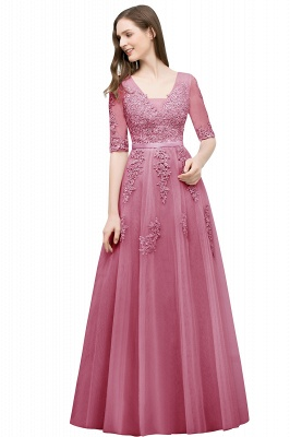JORDYNN | A-line Half-sleeve V-neck Floor Length Appliqued Tulle Prom Dresses with Sash_4