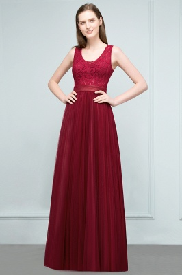 JULIANNA | A-line Scoop Long Sleevless Lace Top Burgundy Tulle Prom Dresses_1