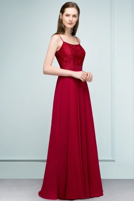 JULIANNE | A-line Spaghetti Floor Length Lace Appliques Prom Dresses