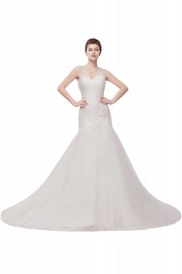WENDY | Meerjungfrau V-Ausschnitt bodenlangen Tüll Brautkleider mit Kristallen_1