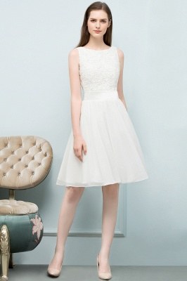 VALERIE | A-line Knee Length Sleevelss Crew Lace Chiffon White Prom Dresses_1