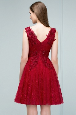 JULIA | A-line Sleeveless Short V-neck Lace Appliqued Tulle Prom Dresses_9