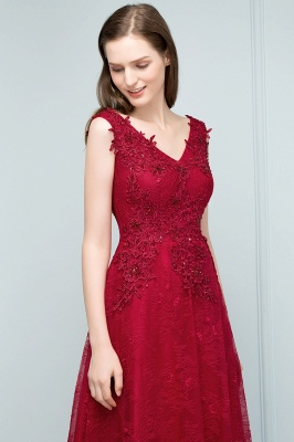 JUDITH   A-line V-neck Long Sleeveless Lace Appliques Prom Dresses with Crystals_8