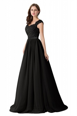 ADA | A-line V Neck Chiffon Bridesmaid Dress with Appliques_7