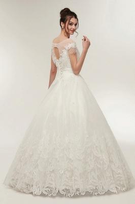 Robe de Mariée avec Appliques Florales en Cristal Dentelle Dos Nu en Ligne A_2