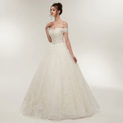 ZOLA | A-line Off-shoulder Sweetheart Floor Length Lace Appliques Wedding Dresses with Lace-up_1