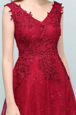 JUDITH   A-line V-neck Long Sleeveless Lace Appliques Prom Dresses with Crystals_10