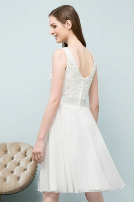VALERIE | A-line Knee Length Sleevelss Crew Lace Chiffon White Prom Dresses_8
