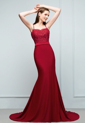 VALERY | Mermaid Spaghetti Sweetheart Long Burgundy Appliques Prom Dresses with Beads_7