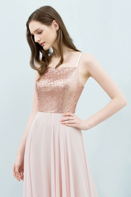 JORDYN | A-line Floor Length Spaghetti Sequined Top Chiffon Prom Dresses_7