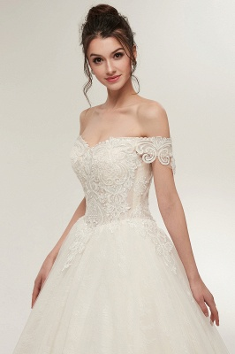 ZOLA | A-line Off-shoulder Sweetheart Floor Length Lace Appliques Wedding Dresses with Lace-up_11