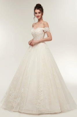 ZOLA | A-line Off-shoulder Sweetheart Floor Length Lace Appliques Wedding Dresses with Lace-up_9