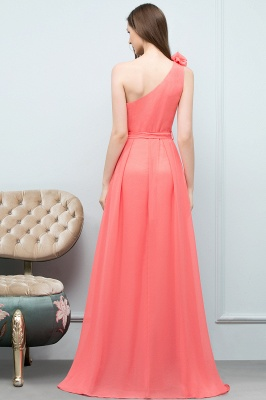 VALERIA | A-line One Shoulder Floor Length Chiffon Prom Dresses with Bow Sash_8