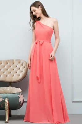 VALERIA | A-line One Shoulder Floor Length Chiffon Prom Dresses with Bow Sash_11