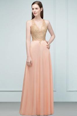 JULIETA | A-line Floor Length V-neck Sleeveless Appliques Chiffon Prom Dresses_6