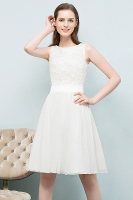 VALERIE | A-line Knee Length Sleevelss Crew Lace Chiffon White Prom Dresses_5