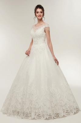 Robe de Mariée avec Appliques Florales en Cristal Dentelle Dos Nu en Ligne A_6