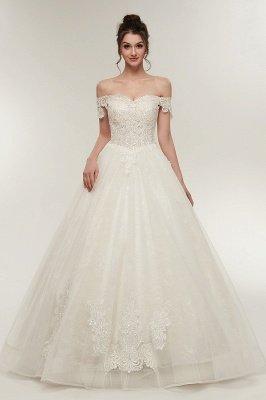 ZOLA | A-Linie Off-Schulter-Schatz bodenlangen Spitze Appliques Brautkleider mit Lace-up_1