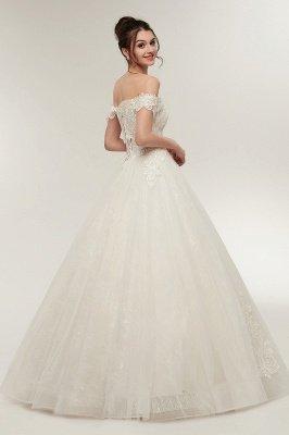 ZOLA | A-line Off-плечо Милая Длина пола Кружева Appliques Свадебные платья с Lace-up_9