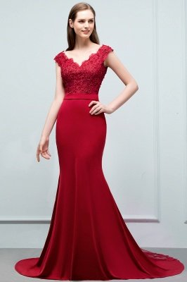JOURNEY | Mermaid Floor Length V-neck Appliques Beads Prom Dresses with Sash_7