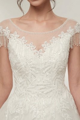 YVETTE | A-line Cap Sleeves Scoop Floor Length Lace Appliques Wedding Dresses with Crystals_3