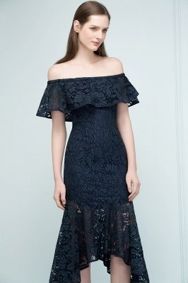 VERENA   Mermaid Off-shoulder Tea Length Black Lace Prom Dresses_9