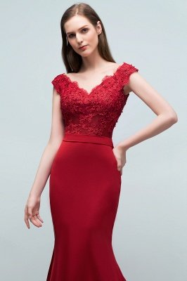 JOURNEY | Mermaid Floor Length V-neck Appliques Beads Prom Dresses with Sash_6