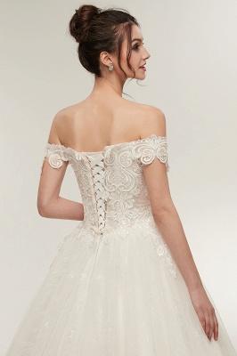 ZOLA | A-line Off-плечо Милая Длина пола Кружева Appliques Свадебные платья с Lace-up_5