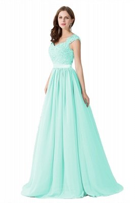 ADA | A-line V Neck Chiffon Bridesmaid Dress with Appliques_8