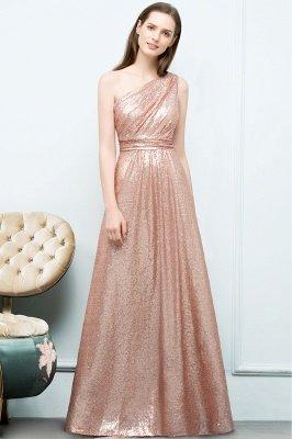 JOURNEE   A-line One-shoulder Sleeveless Floor Length Sequins Prom Dresses_7