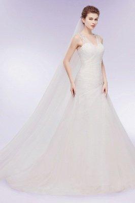 WENDY | Meerjungfrau V-Ausschnitt bodenlangen Tüll Brautkleider mit Kristallen_2