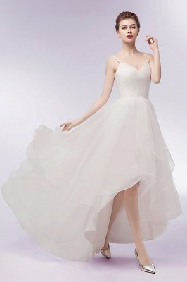 YVONNE | A-line Hi-lo Spaghetti Sweetheart Tulle Ivory Wedding Dresses with Ruffles_6
