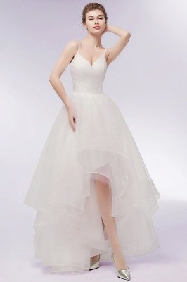 YVONNE | A-line Hi-lo Spaghetti Sweetheart Tulle Ivory Wedding Dresses with Ruffles_9