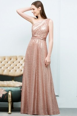 JOURNEE   A-line One-shoulder Sleeveless Floor Length Sequins Prom Dresses_8