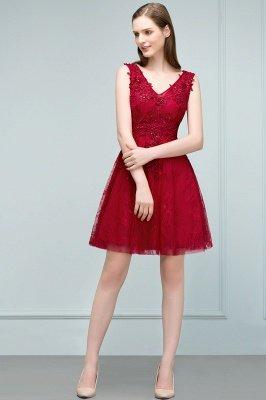 JULIA | A-ligne sans manches courtes v-cou dentelle Applique Tulle Robes de bal_10