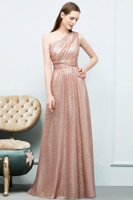 JOURNEE | A-line One-shoulder Sleeveless Floor Length Sequins Prom Dresses