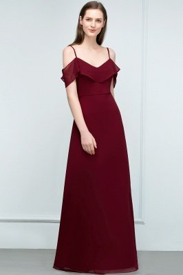 JULIANA | A-line Spaghetti Off-shoulder V-neck Long Chiffon Prom Dresses_14