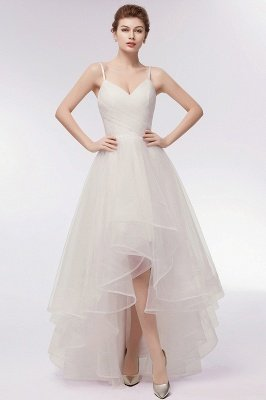 YVONNE | A-line Hi-lo Spaghetti Sweetheart Tulle Ivory Wedding Dresses with Ruffles_13