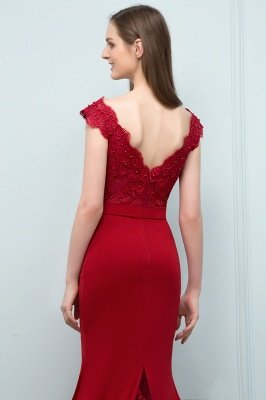 JOURNEY | Mermaid Floor Length V-neck Appliques Beads Prom Dresses with Sash_8