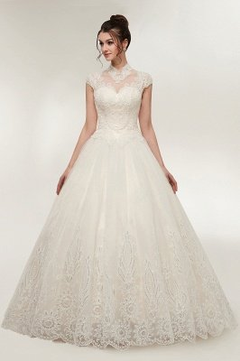 YOLANDE | A-line High Neck Short Sleeves Long Lace Appliques Wedding Dresses with Lace-up_3