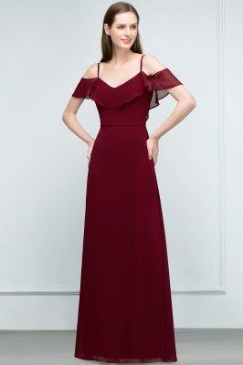 JULIANA | A-line Spaghetti Off-shoulder V-neck Long Chiffon Prom Dresses