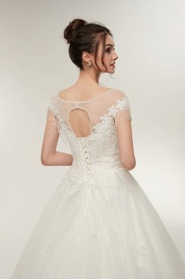 YVETTE | A-line Cap Sleeves Scoop Floor Length Lace Appliques Wedding Dresses with Crystals_9