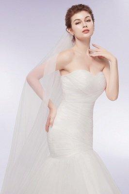 Elegante Brautkleider Meerjungfrau Schlicht | Brautkleider Trägerlos Tüll Mit Schleppe_5