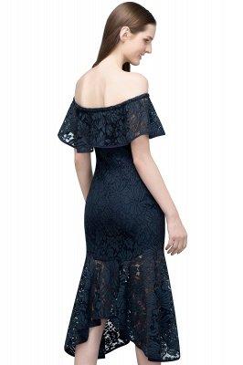 VERENA   Mermaid Off-shoulder Tea Length Black Lace Prom Dresses_11
