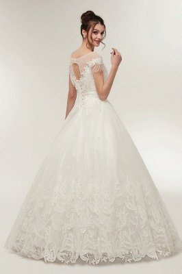 YVETTE | A-line Cap Sleeves Scoop Floor Length Lace Appliques Wedding Dresses with Crystals_2