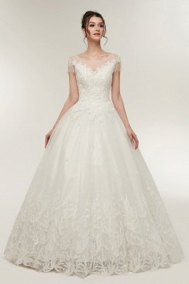 YVETTE | A-line Cap Sleeves Scoop Floor Length Lace Appliques Wedding Dresses with Crystals_5