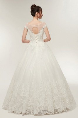 YVETTE | A-line Cap Sleeves Scoop Floor Length Lace Appliques Wedding Dresses with Crystals_7