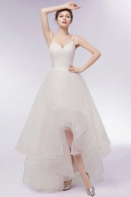 YVONNE | A-line Hi-lo Spaghetti Sweetheart Tulle Ivory Wedding Dresses with Ruffles_1