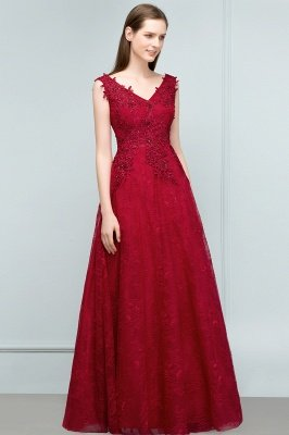 JUDITH | A-line V-neck Long Sleeveless Lace Appliques Prom Dresses with Crystals_1