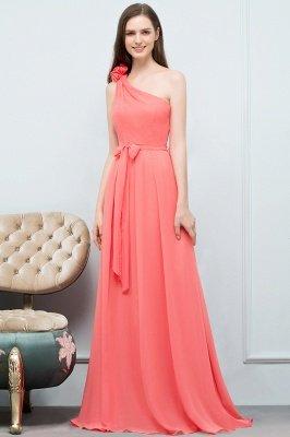 VALERIEN | A-Linie eine Schulter bodenlangen Chiffon Prom Kleider mit Bogen Schärpe_9